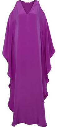 Roberto Cavalli Cold-Shoulder Draped Silk-Satin Gown