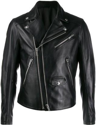 Les Hommes leather double-zip biker jacket