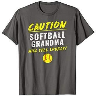 Softball Grandma Caution Will Yell Loudly Funny T-Shirt