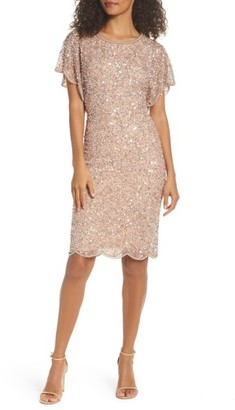Women's Adrianna Papell Embellished Flutter Sleeve Cocktail Dress $199 thestylecure.com