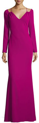 Badgley Mischka Long-Sleeve Stretch Crepe Gown, Pink $550 thestylecure.com