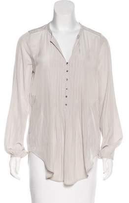 Calypso Pleated Long Sleeve Blouse