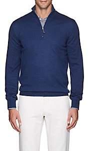 Barneys New York Men's Mélange Wool Quarter-Zip Sweater - Blue