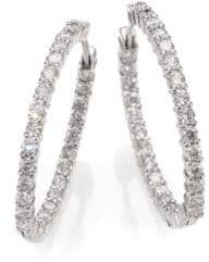 Roberto Coin Diamond& 18K White Gold Hoop Earrings- 1.2in