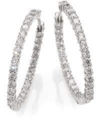 Roberto Coin Diamond& 18K White Gold Hoop Earrings- 1.2in