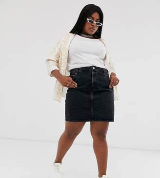 Asos DESIGN Curve denim original high waisted skirt in washed black