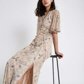 River Island Beige flute sleeve sequin maxi dress