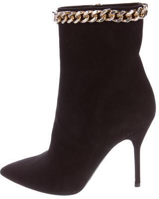 Saint LaurentYves Saint Laurent Chain-Link Suede Ankle Boots