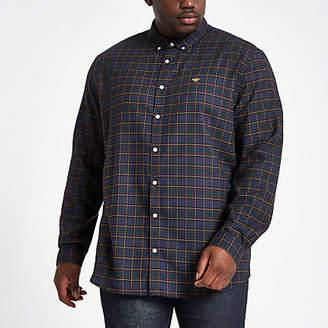 River Island Mens Big and Tall Navy check button-down shirt
