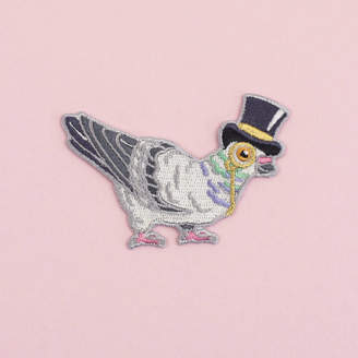 Pigeon Birds in Hats In A Top Hat Iron On Embroidered Patch