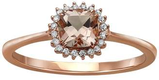 Private Label 10K Rose Gold Morganite & Diamond Ring Size 6