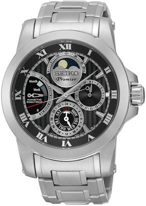 Seiko Men's Premier Kinetic Direct Drive Stainless Steel Bracelet Watch 42mm SRX013 $995 thestylecure.com