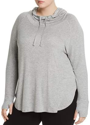 Andrew Marc Plus Hooded Long-Sleeve Cowl-Neck Tee