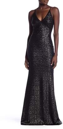 Dress the Population Vanessa V-Neck Sequin Dress
