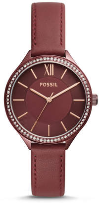 Fossil Suitor Three-Hand Wine Leather Watch