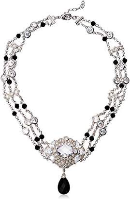 Fine Silver Plated Bronze Glass and White Cubic Zirconia Station Choker Necklace