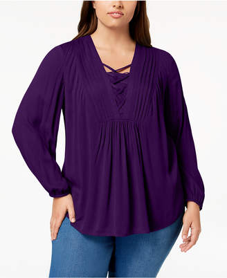 Style&Co. Style & Co Plus Size Lace-Up Pleated Top, Create for Macy's