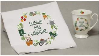 Very Personalised Digs Gardening Marquee Mug And Tea Towel Set