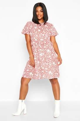 boohoo Plus Floral Ruffle Detail Smock Dress