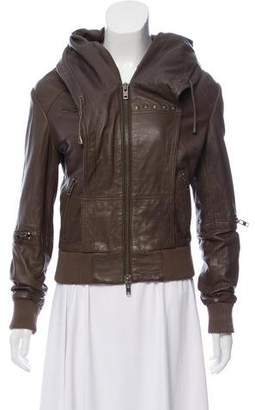 AllSaints Leather Hooded Bomber Jacket