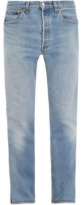 Vetements - Straight Leg Latex Panel Jeans - Mens - Blue Multi