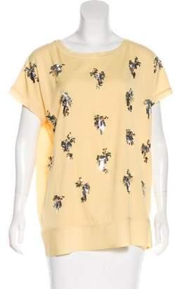 By Malene Birger Embellished Short Sleeve Top