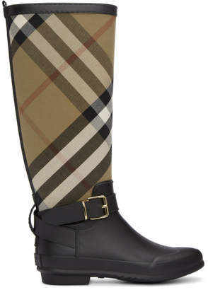 Burberry Black and Beige Check Rain Boots