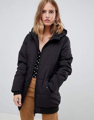 Only elastic hem padded midi jacket