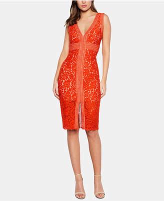 Bardot V-Neck Allover-Lace Sheath Dress