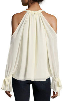 BCBGMAXAZRIA Silk Cold-Shoulder Halter Blouse