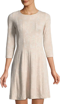 Taylor 3/4 Sleeve Jacquard Fit-&-Flare Dress