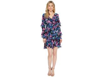 Laundry by Shelli Segal Floral Printed Dress with Ruffle Detail Women's Dress