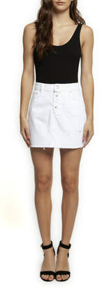 Dex Fray Hem Button Front Denim Mini Skirt