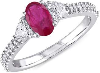 Concerto Vault 14K White Gold Three-Stone Solitaire Ring with Ruby and 0.5 CT. T.W. Diamond