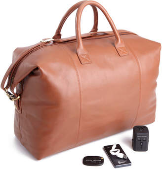 Royce Leather Royce Genuine Leather Expandable Duffel With Bluetooth Tracking Device