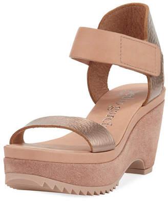 Pedro Garcia Franses Metallic Wedge Platform Sandal