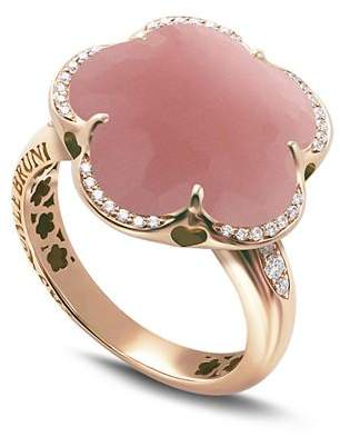 Pasquale Bruni 18K Rose Gold Bon Ton Floral Dark Pink Chalcedony & Diamond Ring