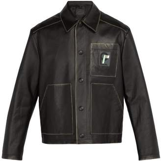 Prada Logo Patch Leather Jacket - Mens - Black