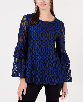 Alfani Lace Double Bell Sleeve Top, Created for Macy's