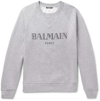Balmain Logo-Print Cotton-Jersey Sweatshirt - Men - Gray