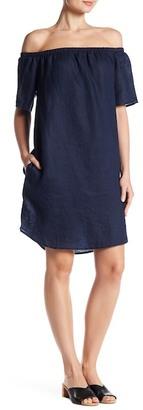 Allen Allen Off-the-Shoulder Linen Shift Dress $98 thestylecure.com