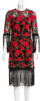 Dolce & Gabbana Rose Embroidered Fringe Dress w/ Tags