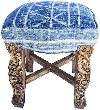 One Kings Lane Vintage Mali Indigo Carved Ottoman - AntiqueLifestyle