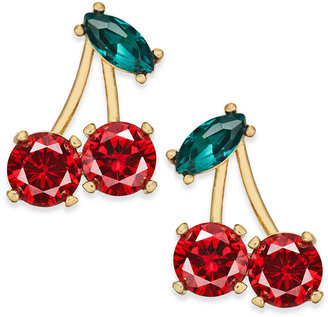 kate spade new york 14k Gold-Plated Crystal Cherry Stud Earrings $48 thestylecure.com