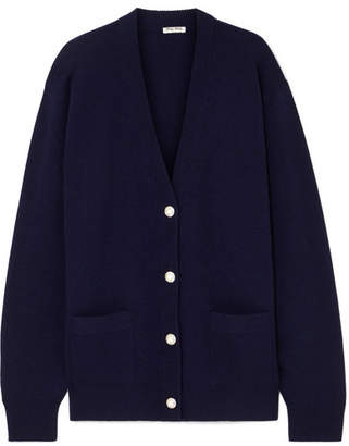 Miu Miu Oversized Crystal And Faux Pearl-embellished Wool Cardigan - Navy