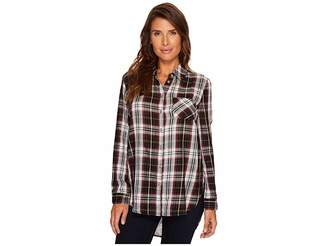 Tribal Long Sleeve Plaid Shirt w/ Printed Back Detail Women's Blouse