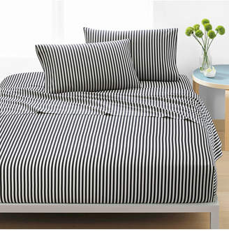 Marimekko Ajo Cotton 200-Thread Count 3-Pc. Black Stripe Twin Xl Sheet Set Bedding
