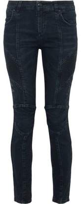Pierre Balmain Moto-Style Distressed Low-Rise Skinny Jeans