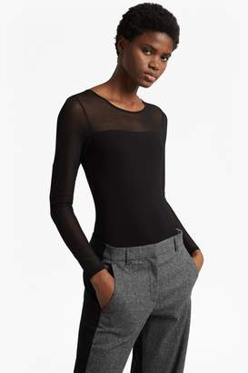 French Connenction Allie Long Mesh Sleeved Bodysuit