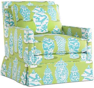 Dana Gibson Lilla Swivel Club Chair - Turquoise/Lime